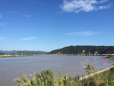 増水した旧北上川
